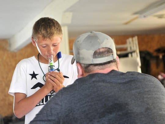 Dawson Japinski, 13, of Sauk Rapids, demonstrated duck