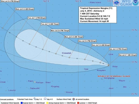 Forecast tracking graphic for Tropical Depression Nangka issued at 7 a.m. Saturday, July 4.