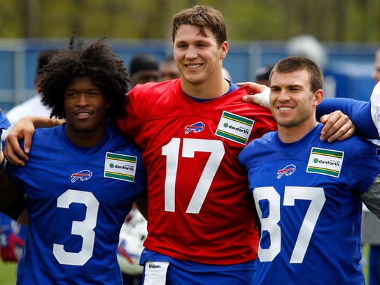Buffalo Bills rookies Ray-Ray McCloud (3), Josh Allen