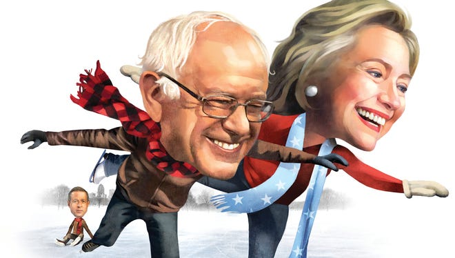 Illustration of Iowa democratic candidates for president Hillary Clinton, Bernie Sanders and Martin O'Malley.