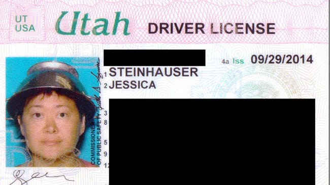 Asia Lemmon, also known as Jessica Steinhauser, had her Utah driver's license photo taken wearing a colander, official headgear for the Church of the Flying Spaghetti Monster.
