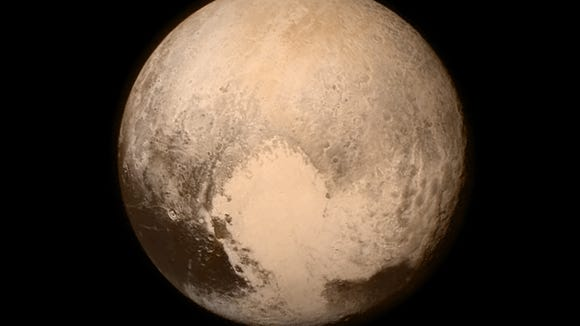 View of Pluto as seen from NASA New Horizons spacecraft.