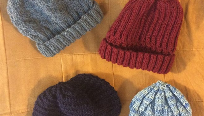 These are the first four hats I made for the homeless this year.