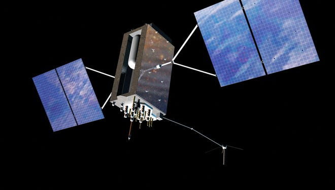 Artist concept of a Global Positioning System III satellite in orbit.