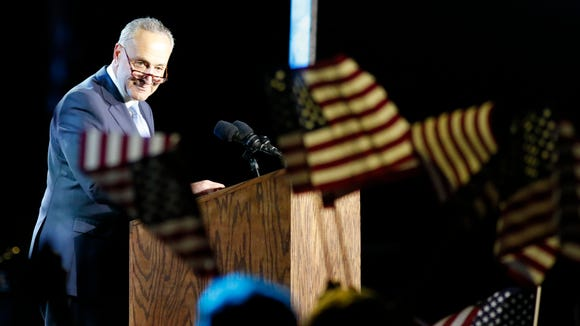 Senator Chuck Schumer (D-NY) speaks outside the Jacob Javits Center where Democratic presidential candidate Hillary Clinton holds a rally in New York on Nov. 8, 2016.