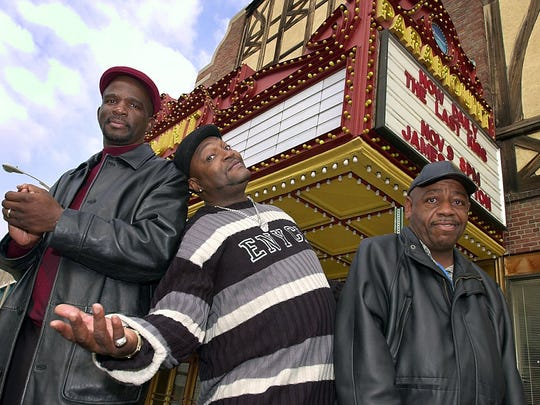 "In 2002, James ""Uncle Jimmy Mack"" McNair staged a benefit concert at the then-Paramount Center for the Arts to feed the hungry with Brothers Production members Glenn Cook, left, and Wesley Bullock, right. On Thursday, McNair's funeral will be held in the Brown Street theater."