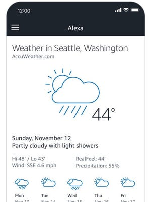 A screenshot of Amazon's Alexa app.