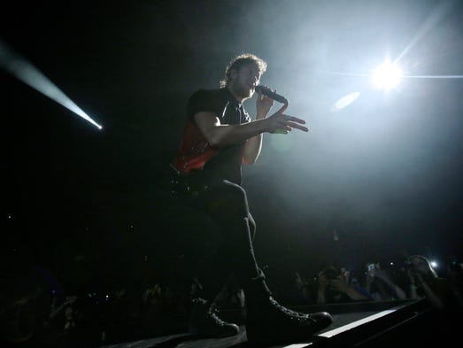 Imagine Dragons performs for the crowd on Tuesday,