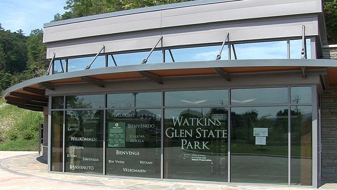 State park officials unveiled a redesigned entrance and welcome center Monday at Watkins Glen State Park.