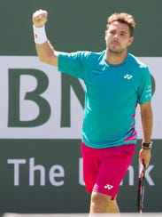 Stan Wawrinka of Switzerland celebrates his semifinal