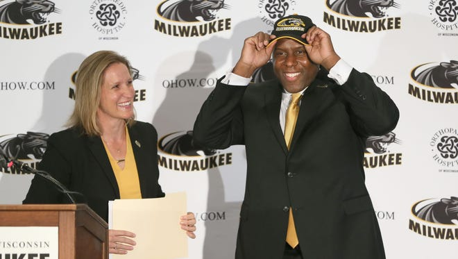UWM athletic director Amanda Braun introduces Patrick Baldwin as head basketball coach.