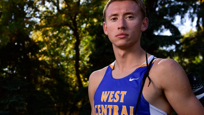 West Central cross country runner Derick Peters poses for a portrait on Wednesday, Sept. 27, 2017.