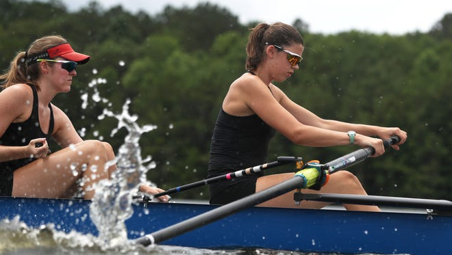 Omie Coyne right, and Allison Stevens train with their Capital City Rowing teammates on Lake Talquin on Wednesday, May 30, 2018 for their trip to the U.S. Rowing Youth Nationals in California, where they will compete with the top youth rowers from around the county.