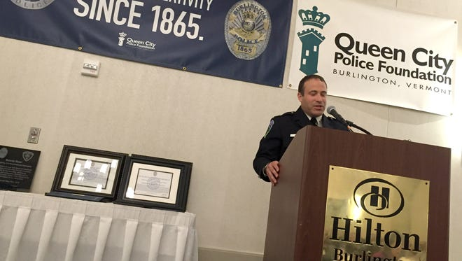 Police Chief Brandon del Pozo speaks during the Queen City Police Foundation and Burlington Rotary Benefit Lunch on Monday, May 23, 2016, at the Hilton Burlington Hotel.