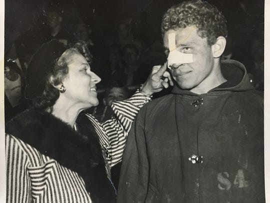 Tommy Trent (right) and Gladys Trent talk at a Dobyns-Bennett