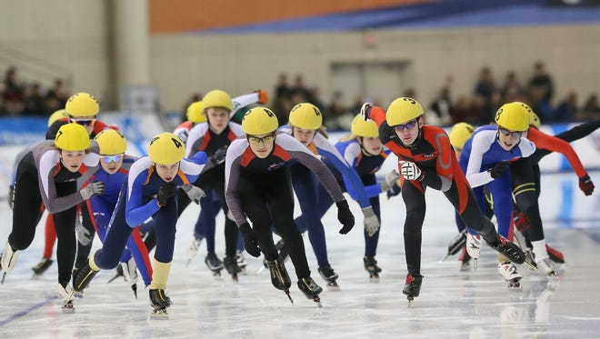 Young skaters from several speedskating clubs in Wisconsin and northern Illinois take part in a demonstration of the mass start event at the Pettit Center in January. Participation in clubs has declined in recent years.