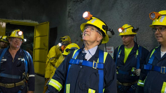"""U.S. Sen. John McCain tours the """"never sweat tunnel"""" 1,200 feet below the surface at Superior'??s proposed Resolution Copper Mining."""