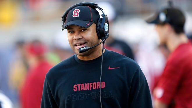 Stanford football coach David Shaw works against California.