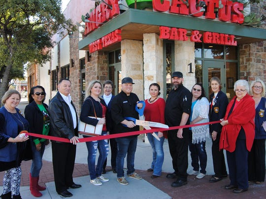The Concho Cadre, San Angelo Chamber of Commerce and San Angelo City Councilman Harry Thomas helped celebrate the one-year anniversary of the Angry Cactus, 1 W. Concho Ave. on Saturday, Dec. 9. Executive Chef Tim Condon, General Manager Danica Martinez and Kitchen Manager Sean Guyton helped cut the ribbon for the upscale bar and grill's anniversary party.