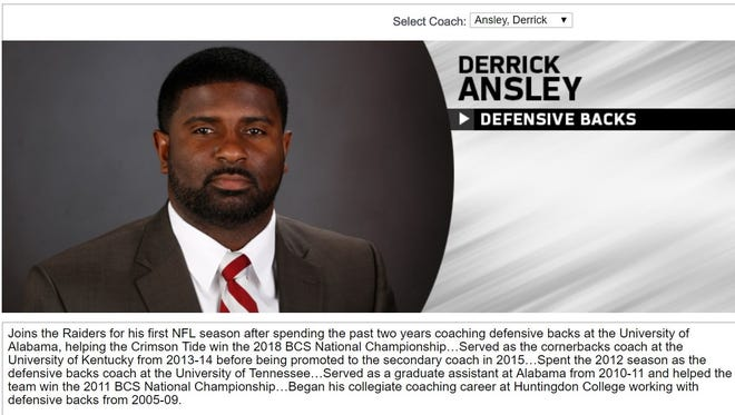 The Oakland Raiders have new defensive backs coach Derrick Ansley helping Alabama win the '2018 BCS National Championship' when in fact it was the College Football Playoff title game.