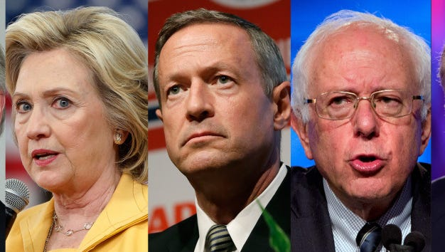 Democratic presidential candidates Lincoln Chafee, Hillary Clinton, Martin O'Malley, Bernie Sanders and Jim Webb.