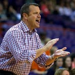 Feb 12, 2015; Clemson, SC, USA; Louisville Cardinals head coach Jeff Walz reacts during the first half against the Clemson Lady Tigers at Littlejohn Coliseum. Mandatory Credit: Joshua S. Kelly-USA TODAY Sports