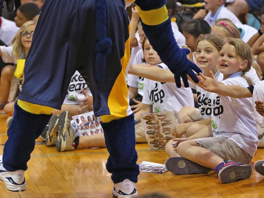 Indiana Pacers mascot Boomer greets kids at the Jump IN for Healthy Kids event on Wednesday, Sept. 2, 2015, at the University of Indianapolis.