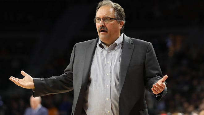 Pistons coach Stan Van Gundy reacts after getting a technical foul during the second quarter of the Pistons' 114-108 overtime win Thursday at the Palace.