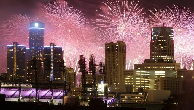 Fireworks burst over the Detroit city skyline during the  annual Ford Fireworks show in downtown in June 2014.