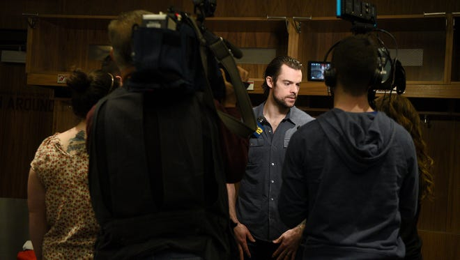New Jersey Devils forward Drew Stafford speaks with the press on the day designate for players to clean out their lockers at the Prudential Center in Newark on Tuesday, April 24, 2018.