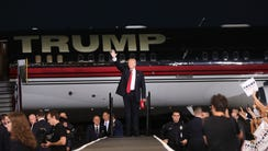 Donald Trump arrives at a campaign event on Sept. 27,