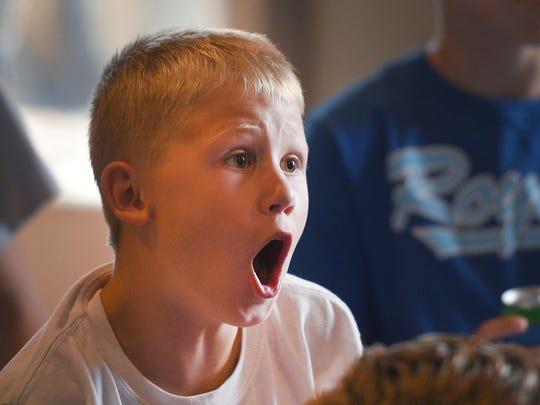 Beau Koerner reacts to a call during the Little League