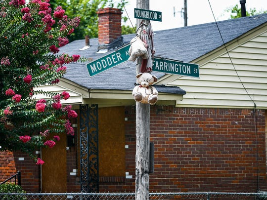 A teddy bear memorial hangs from a pole in the Riverview neighborhood. It's not clear who it was for, but it's the same neighborhood where Robert Pollard Jr., was slain in July and his nephew Terry Figgs was gunned down last year. Pollard was killed before he could testify in the murder trial involving the killing of his nephew.