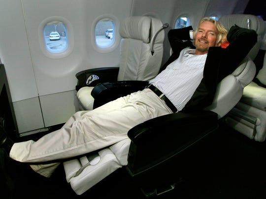 Sir Richard Branson, chairman of Virgin Group, relaxes