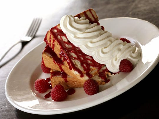 Angel food cake with fresh raspberries at Beverly Hills