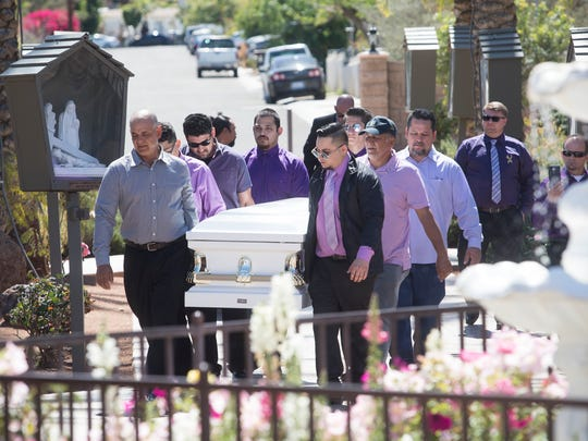 Pamela Carrillo, a student at Desert Hot Springs High School, was killed over the weekend when she was struck by a vehicle while crossing Palm Drive. Her family and friends celebrated her life at San Luis Rey Catholic Church in Cathedral City on March 23, 2018.