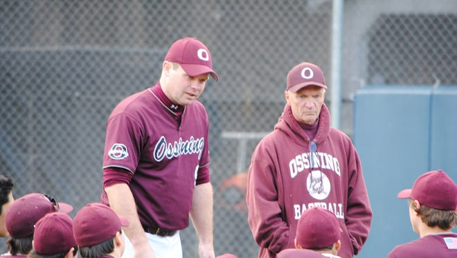 Ossining baseball coach Bill Casey (standing, left) speaks with his team during April 2016. Casey passed away on Friday, April 7, 2017, after battling cancer for several years.