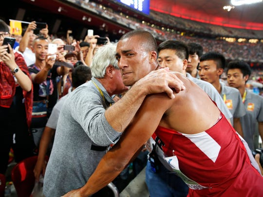 United States' Ashton Eaton celebrates after winning the decathlon at the World Athletics Championships at the Bird's Nest stadium in Beijing, Saturday, Aug. 29, 2015.