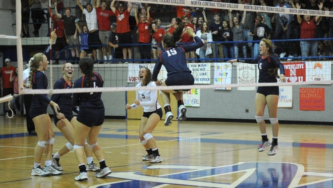 Lauren Roberts/Times Record News Northwest celebrates winning the Region I-5A bi-district playoff match over Rider Tuesday, Nov. 1, 2016, at North Central Texas College in Gainesville. The Lady Raiders lost to the Texans 3-0 (23-25, 17-25, 17-25).