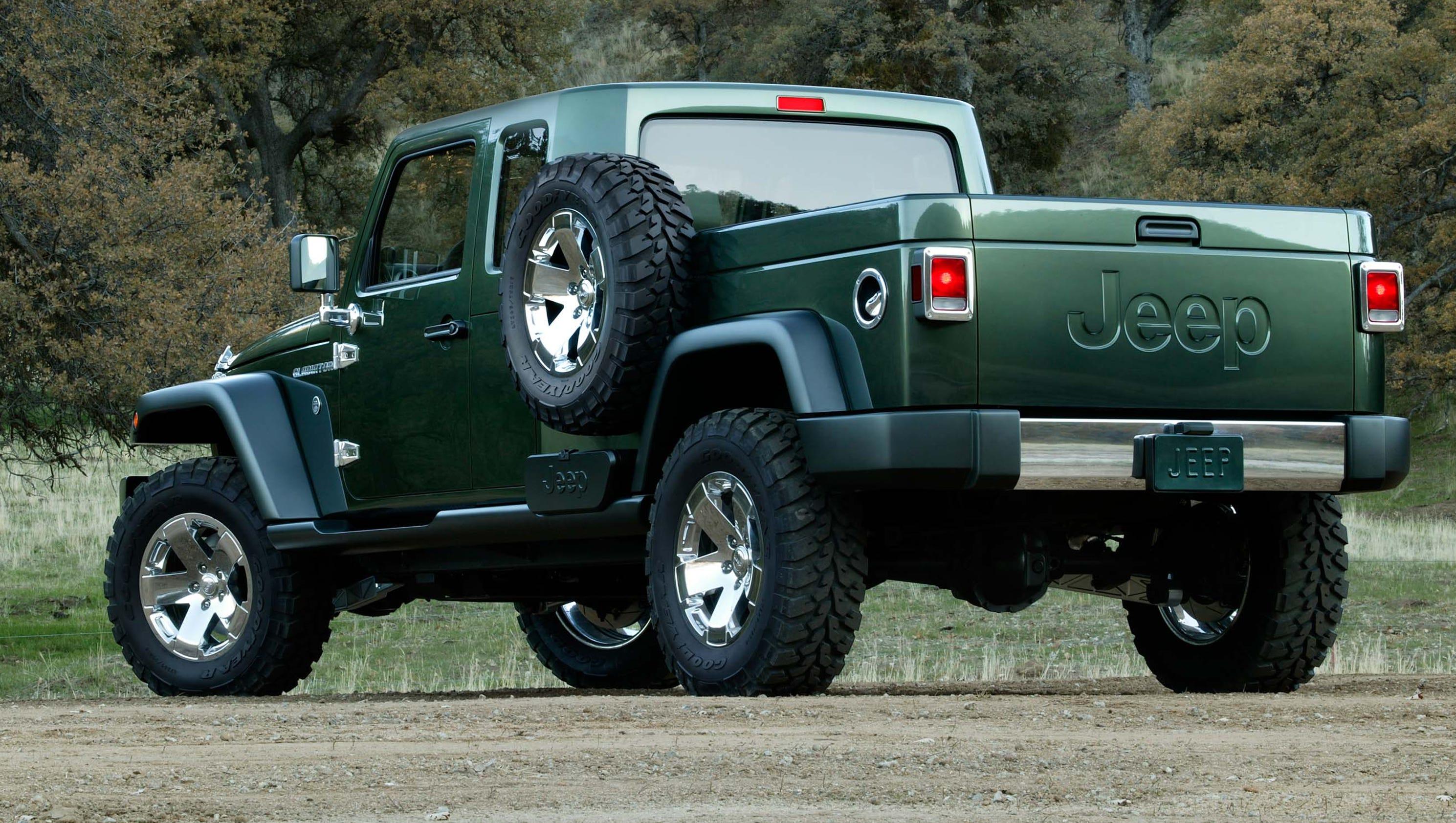 concepts hint at look of jeep wrangler pickup. Black Bedroom Furniture Sets. Home Design Ideas
