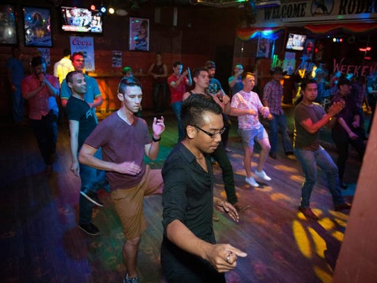 Enjoy some country-swing line dancing.
