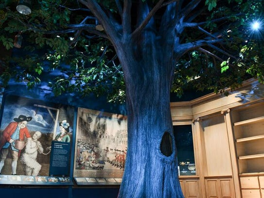 The Liberty Tree features real wood from a nearly 600-year-old