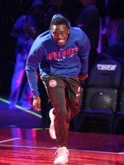 Pistons guard Reggie Jackson is introduced during the Meet the Team event at Little Caesars Arena on Tuesday, Oct. 3, 2017.