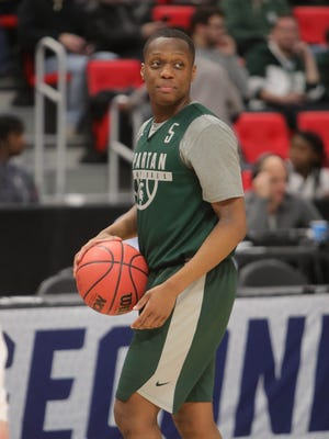 Michigan State guard Cassius Winston practices for the first-round NCAA tournament game on Thursday, March 15, 2018, at Little Caesars Arena.