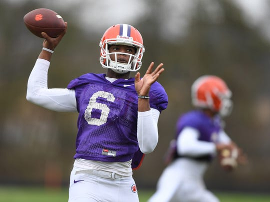 Clemson quarterback Zerrick Cooper (6) throws during practice on Dec. 13, 2016.