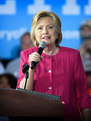 """The Hillary Clinton/Tim Kaine """"Stronger Together"""" tour stopped in Harrisburg Friday, June 30, just one day after the 2016 Democratic Convention in Philadelphia. Democratic nominee Hillary Clinton speaks to audience members who gathered at the Broad Street Market to hear her speak."""