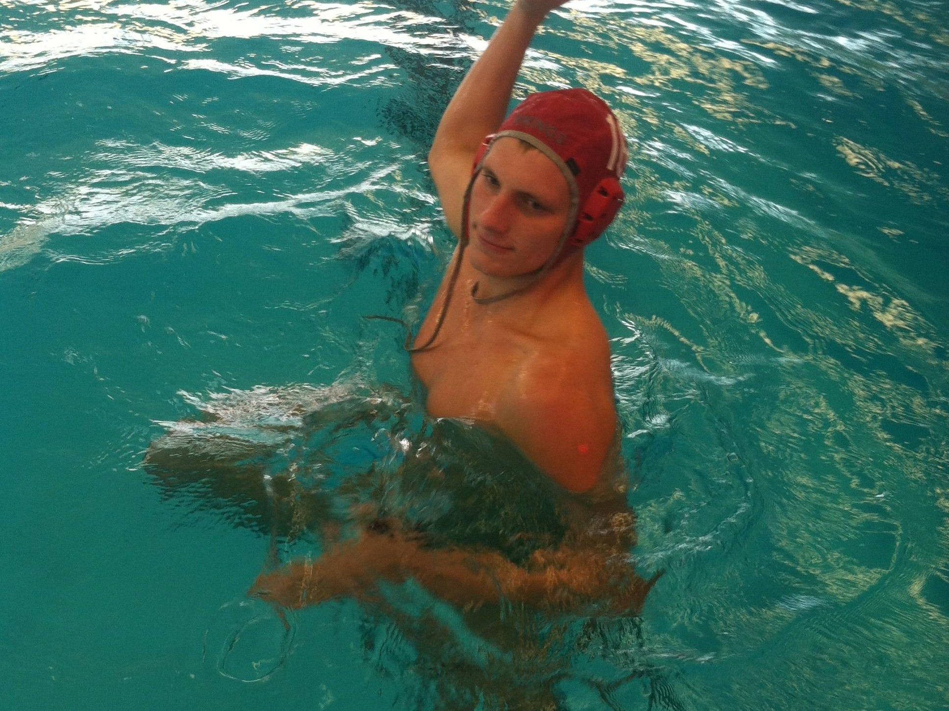 Princeton High School senior Riley Hinkley, at practice Sept. 8, is a standout water polo player for the Vikings.
