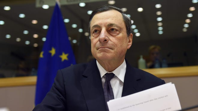 European Central Bank President Mario Draghi addresses the Committee on Economic and Monetary Affairs at the European Parliament in Brussels, on February 15, 2016.