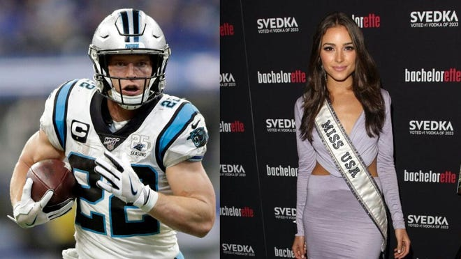 Carolina Panthers running back Christian McCaffrey, left, showed talent behind the camera lens with his photographs of former Rhode Islander and Miss Universe Olivia Culpo in Vogue.