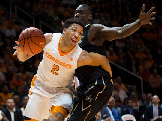 Tennessee's Grant Williams (2) drives to the goal during Tennessee's game against Vanderbilt at Thompson-Boling Arena on Wednesday, Feb. 22, 2017. Tennessee lost to Vanderbilt 67-56.